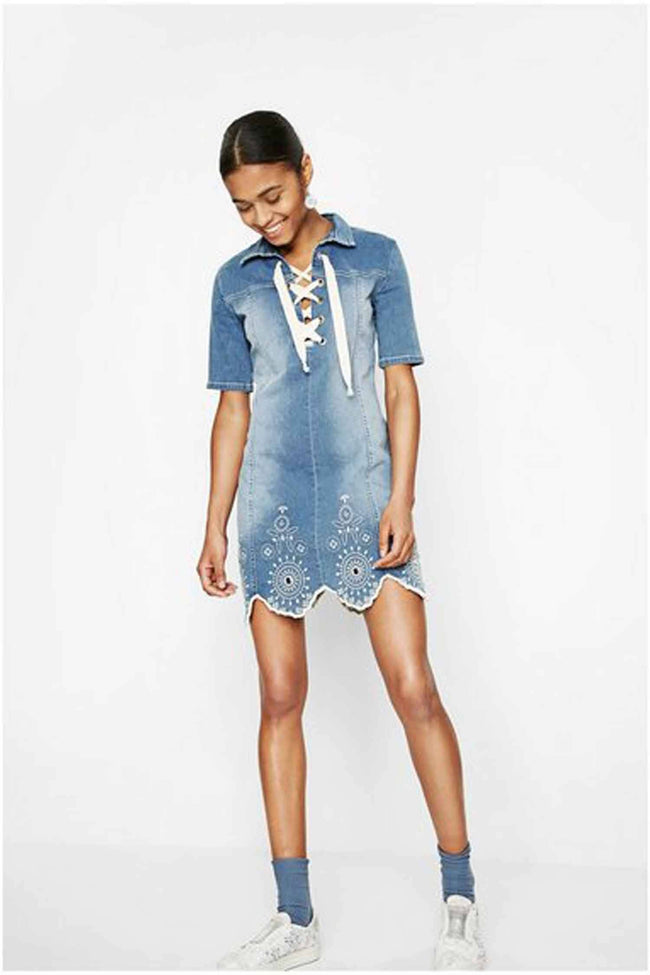 Denim Medium Light Dress by Desigual Frockaholics.com