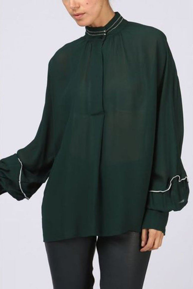 Blouse Contrast Collar in Jade Green