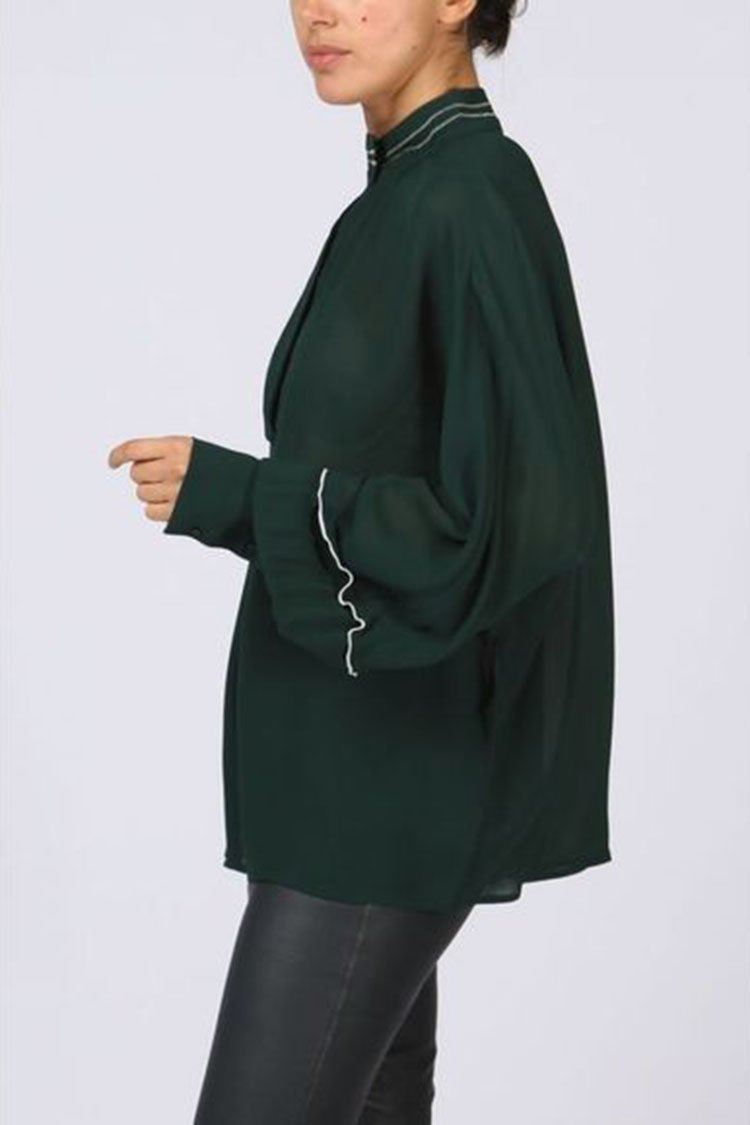 Blouse Contrast Collar in Jade Green | FINAL SALE