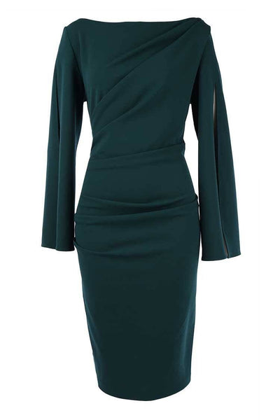 Abbey Split Sleeve Cocktail Dress in Teal Dresses Quba