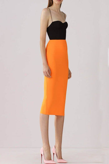 Lee Two-Tone Crepe Midi Dress