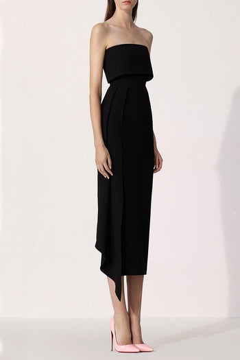 Alexander Kick-Pleat Crepe Midi Dress