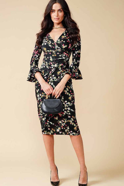Amelie Faux Wrap Dress in Daisy Dresses Sacha Drake