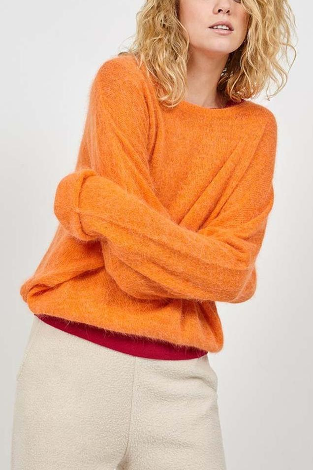 Mitibird Boat Neck Jumper in Papaya Melange