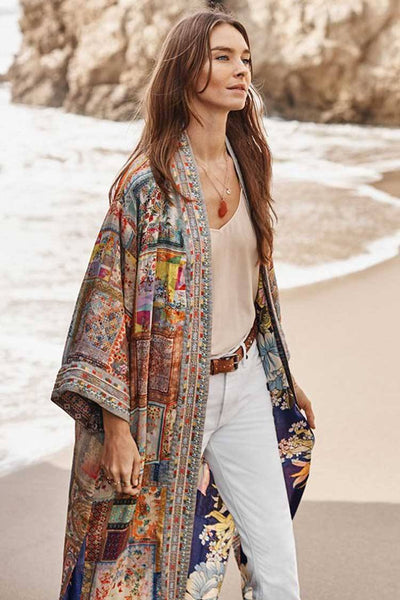 Annika Long Reversible Kimono Jackets & Outerwear Johnny Was
