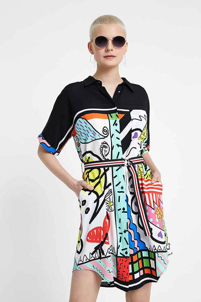Artistic Short Shirt Dress Dresses Desigual