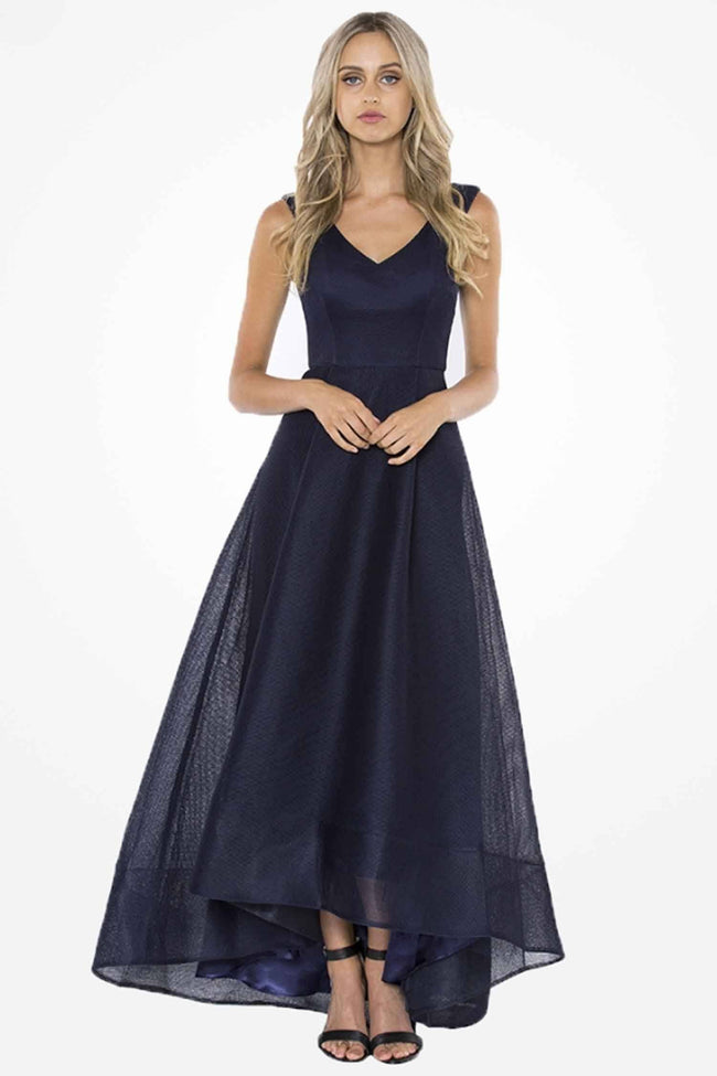 Violets V-Neck High-Low Ball Gown