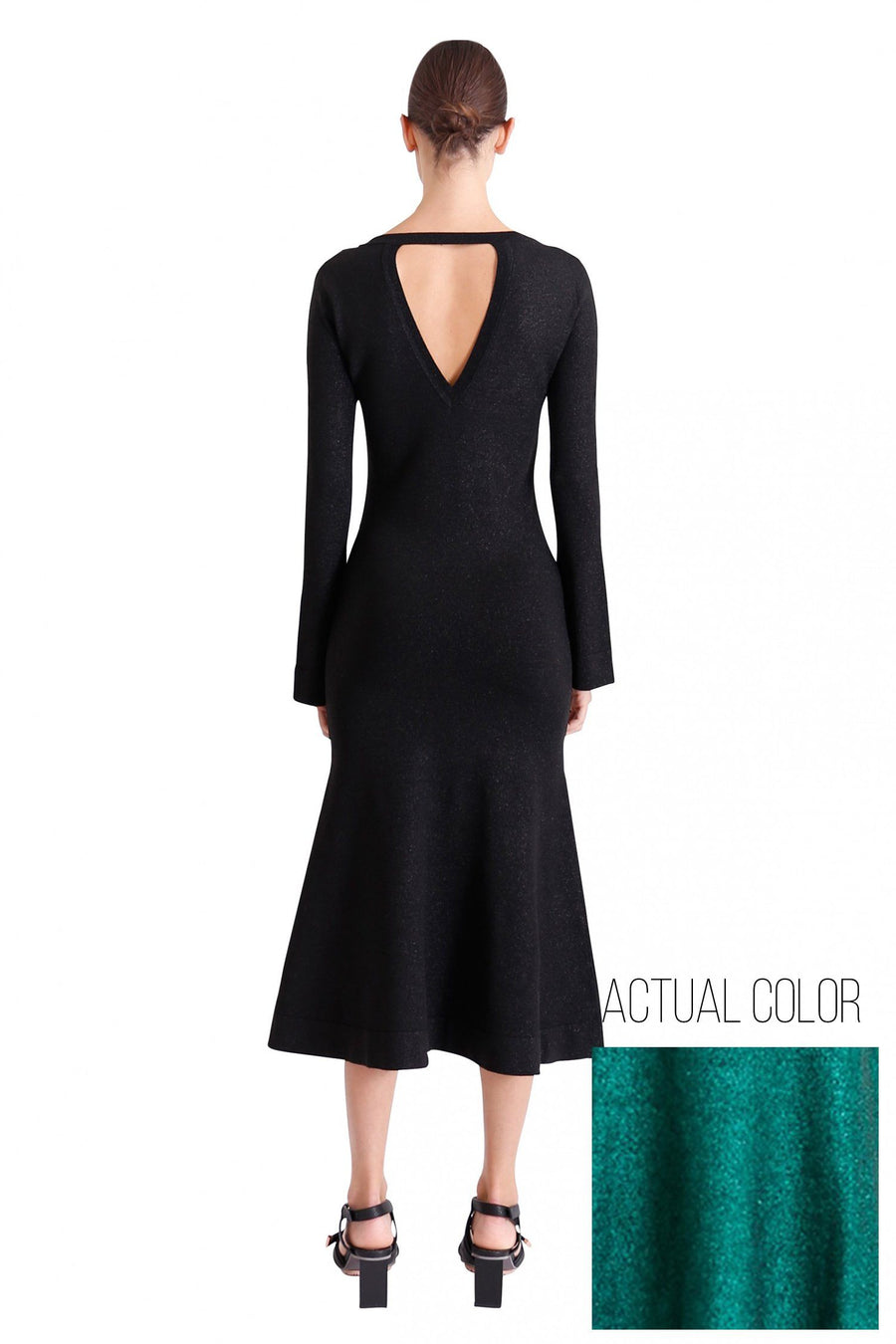 Allude Metallic Knit Dress in Emerald | FINAL SALE