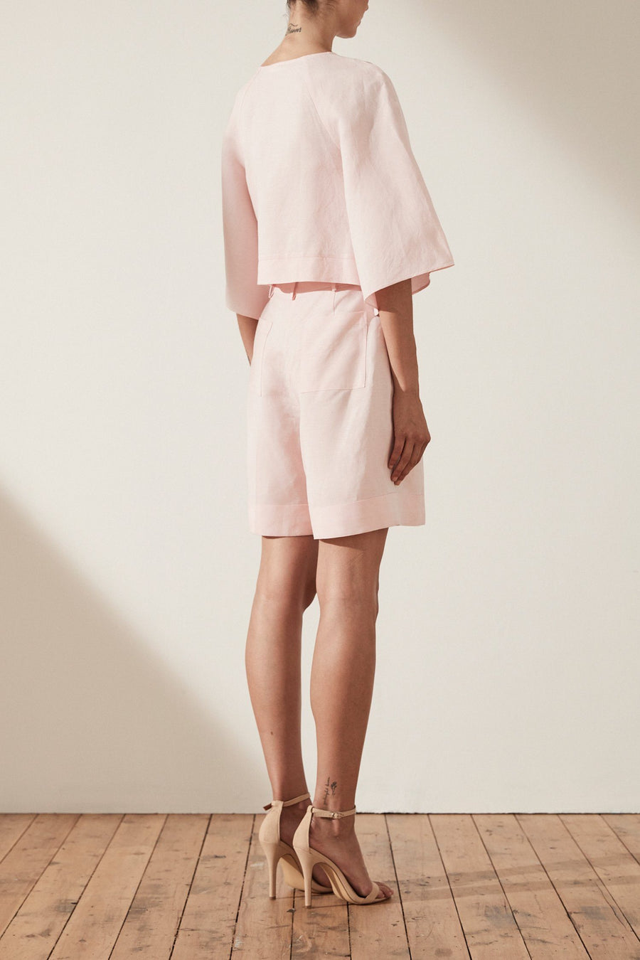 Brooke Tie Front Blouse in Pastel Pink