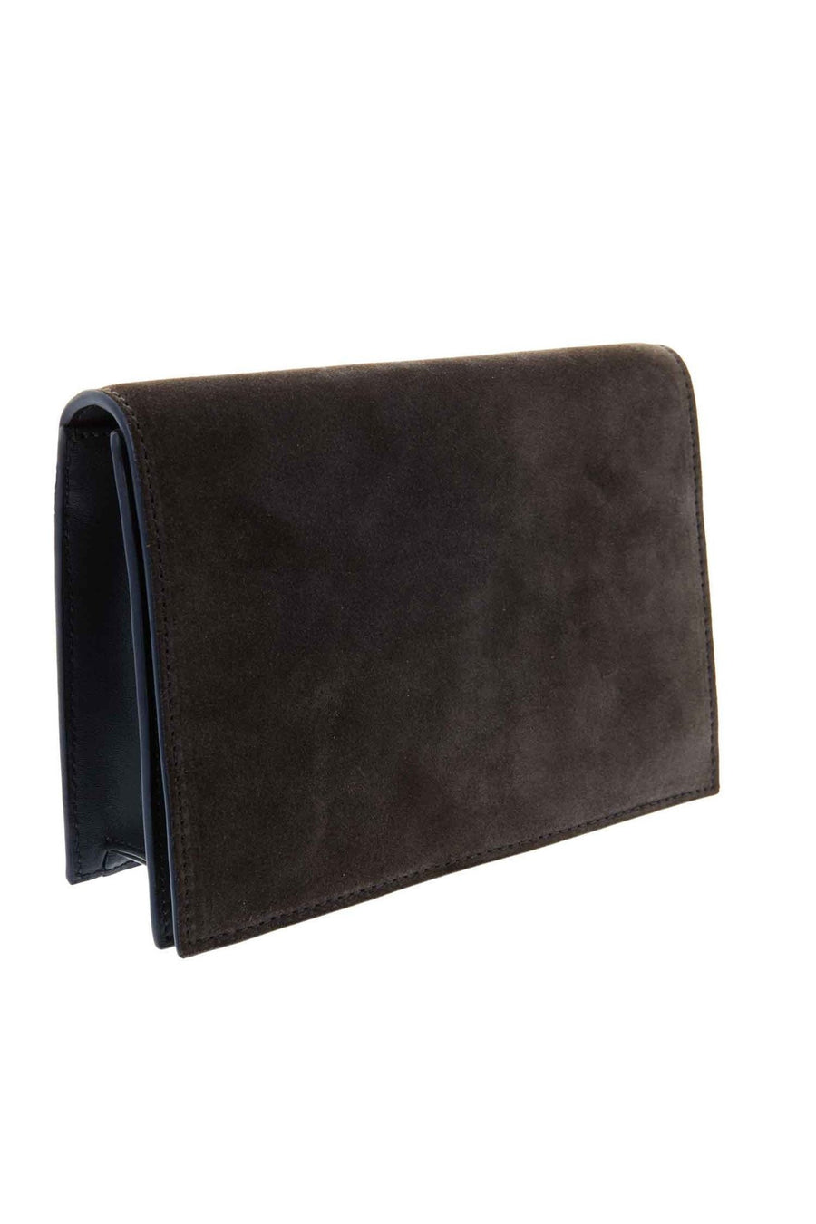 The Dark Grey Suede Leather Clutch by Peter Lang