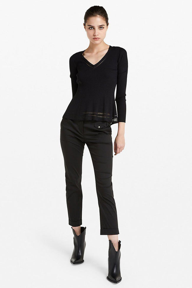 Stretch Cotton Trousers in Nero