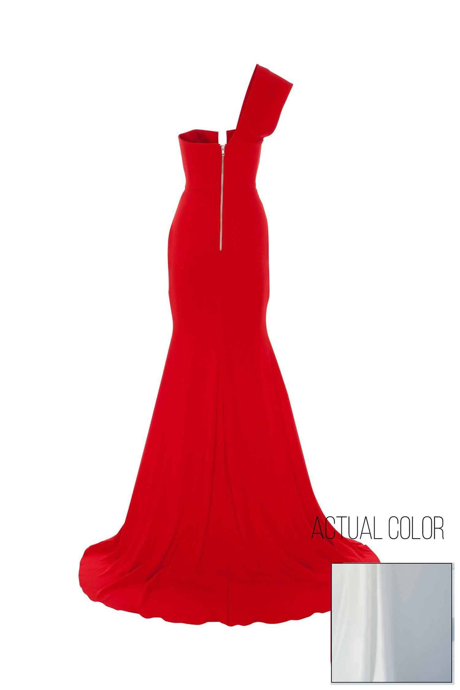 Bradford Satin Crepe V One Shoulder Gown by Alex Perry Frockaholics.com