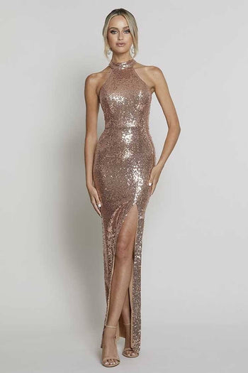 Heather High Neck Sequin Gown