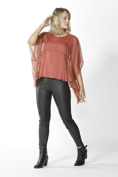 Belize Silk Blouse in Cinnamon Tops Fate + Becker