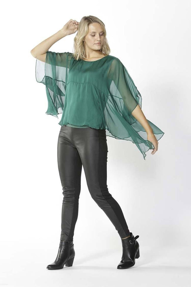 Belize Silk Blouse in Clover