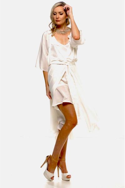 Bella Wrap Dress in Ivory with Slip | Silk Crepe Dresses Lucy Laurita - Leiela