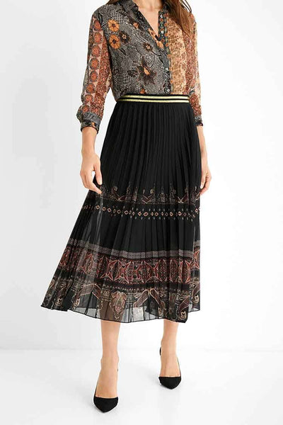 Boho Pleated Midi Skirt Bottoms Desigual