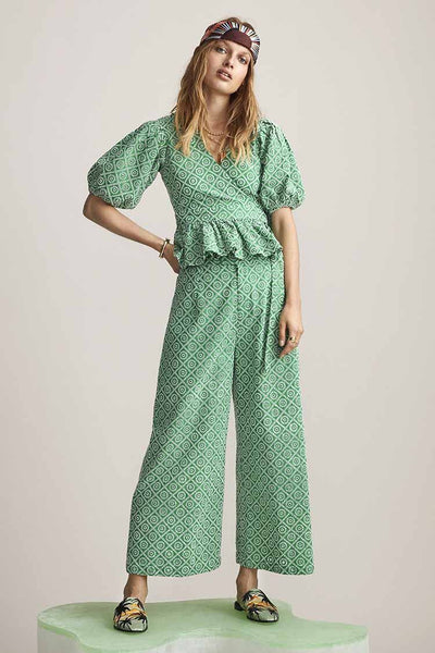 Broderie Anglaise Trousers in Tikki Green Bottoms Maison Scotch