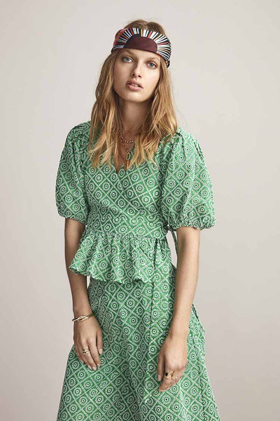 Broderie Anglaise Wrap Over Top in Tikki Green Tops Maison Scotch