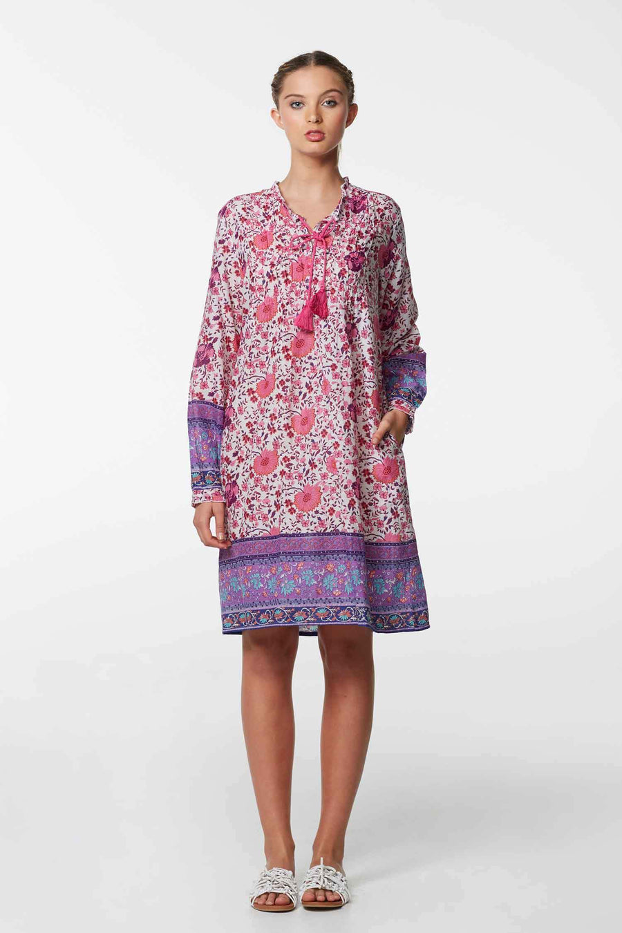 Charlotte Cotton Dress in Hippy Pink