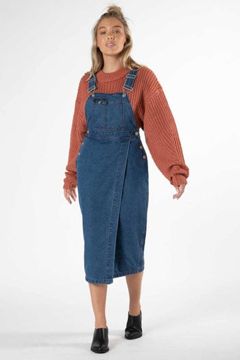Cacey Denim Pinafore in Indigo