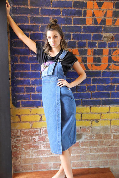 Cacey Denim Pinafore in Indigo Dresses SASS