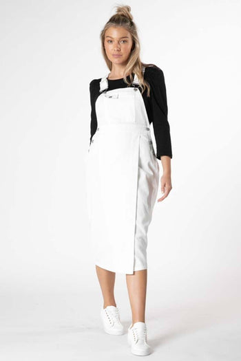 Cacey Denim Pinafore in White
