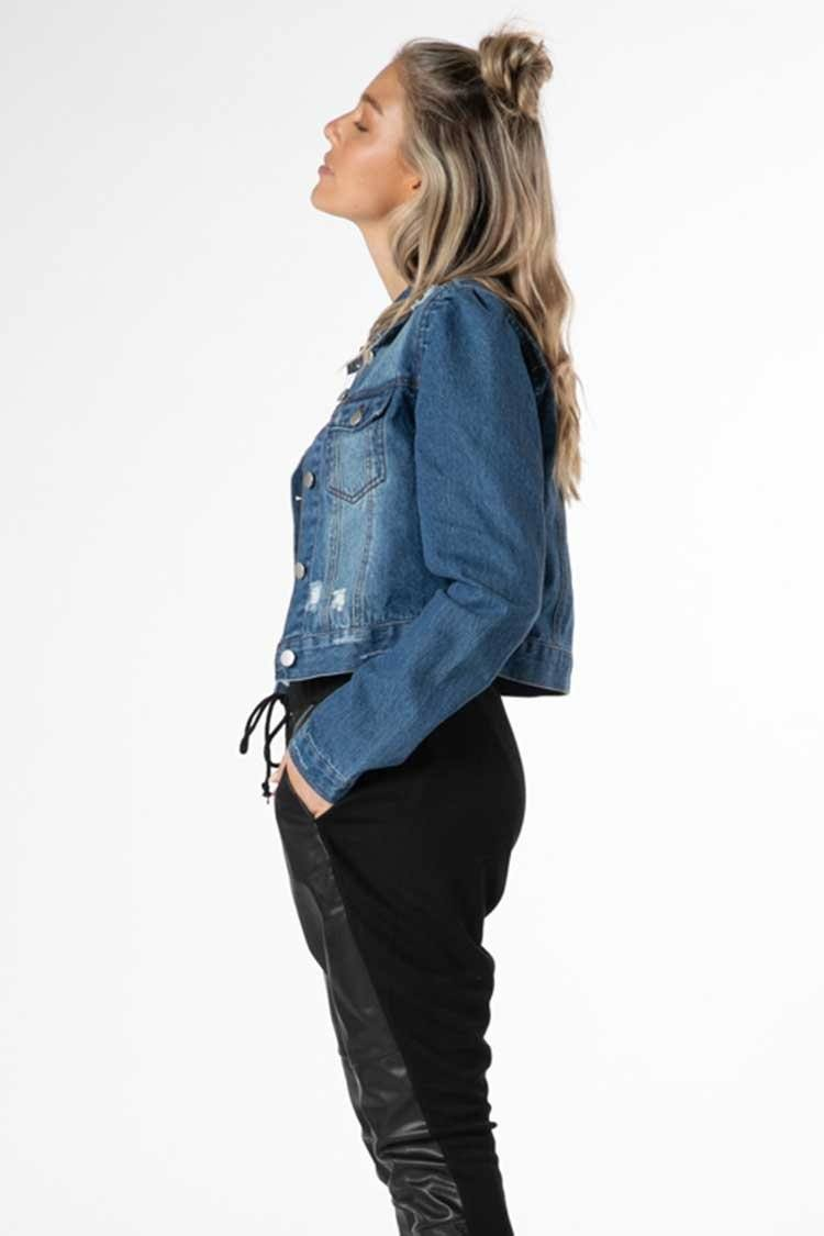 Cacey Puff Denim Jacket in Indigo
