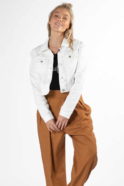 Cacey Puff Denim Jacket in White Jackets & Outerwear SASS
