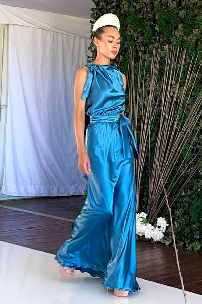Camilla in Steel Blue Poly Dresses Lucy Laurita - Leiela