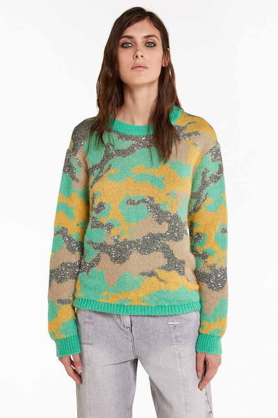 Camouflage Sweater in Indus Tops Patrizia Pepe
