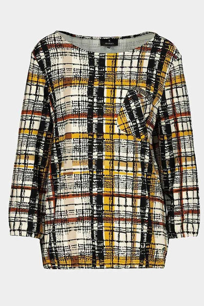 Checked Shirt w Front Pocket Tops Monari