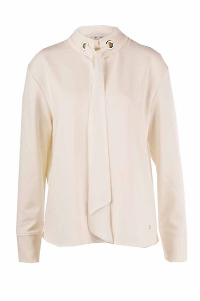 Chiffon Ribbon Shirt in Cream Tops Monari