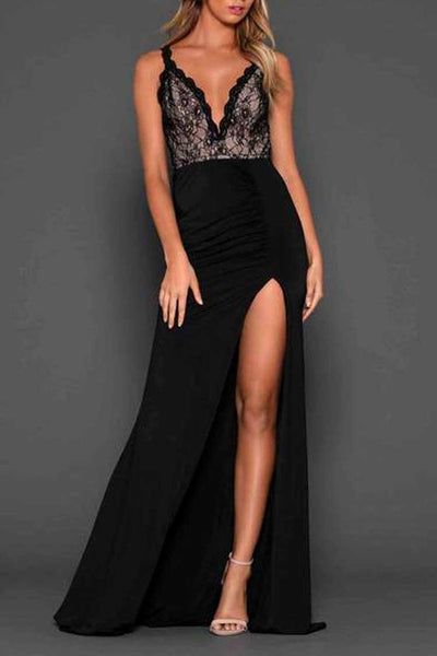 Christina Split Gown in Black Dresses Elle Zeitoune