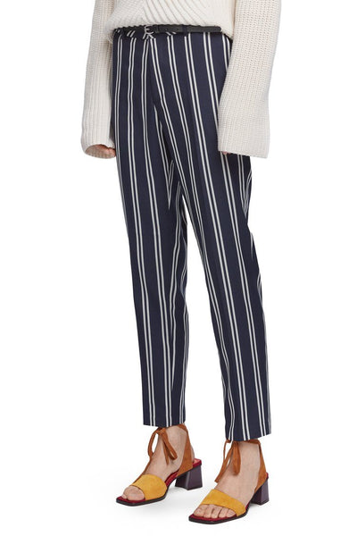 Classic Stretch Trousers w Belt in Stripe Bottoms Maison Scotch