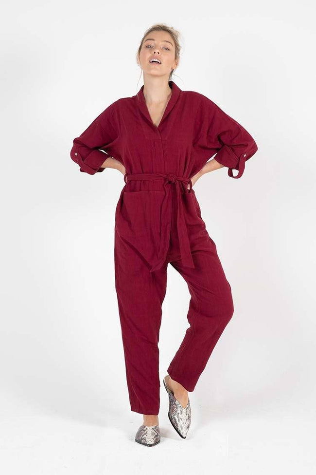Coco Boiler Suit in Berry
