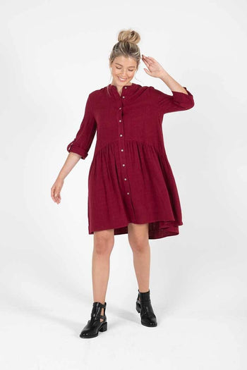 Coco Shirt Dress in Berry