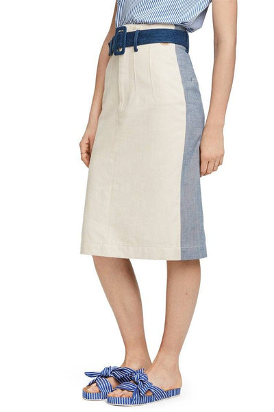 Colorblock Denim Midi Skirt Bottoms Maison Scotch