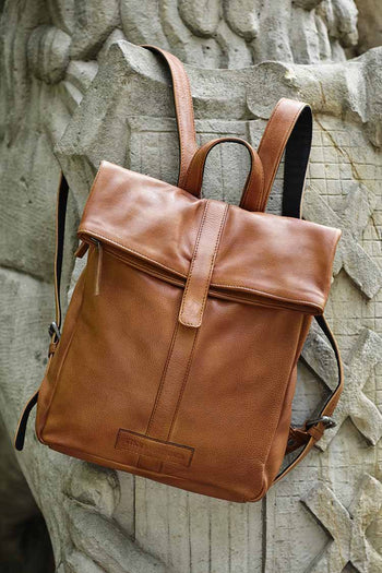 Courier Backpack in Cognac