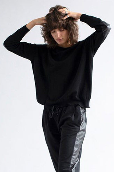 Crew Boxy Elbow Patch Jumper Tops Sabatini