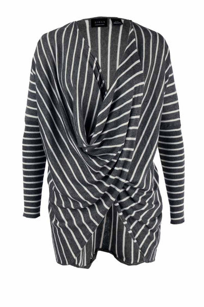Crossover Knit LS Stripe Top in Charcoal Tops Press