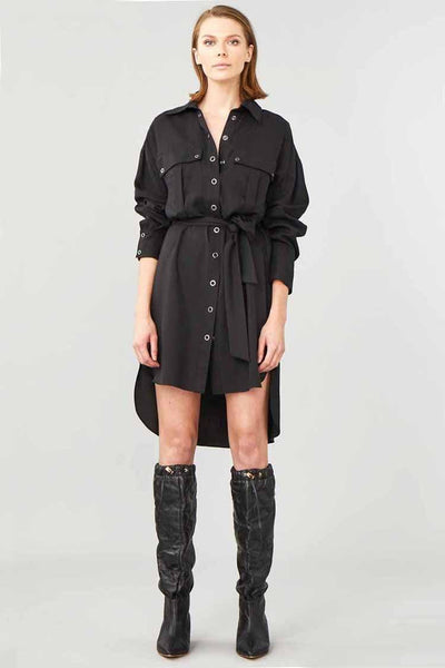 Cruiser Shirt Dress in Black Dresses Ginger & Smart