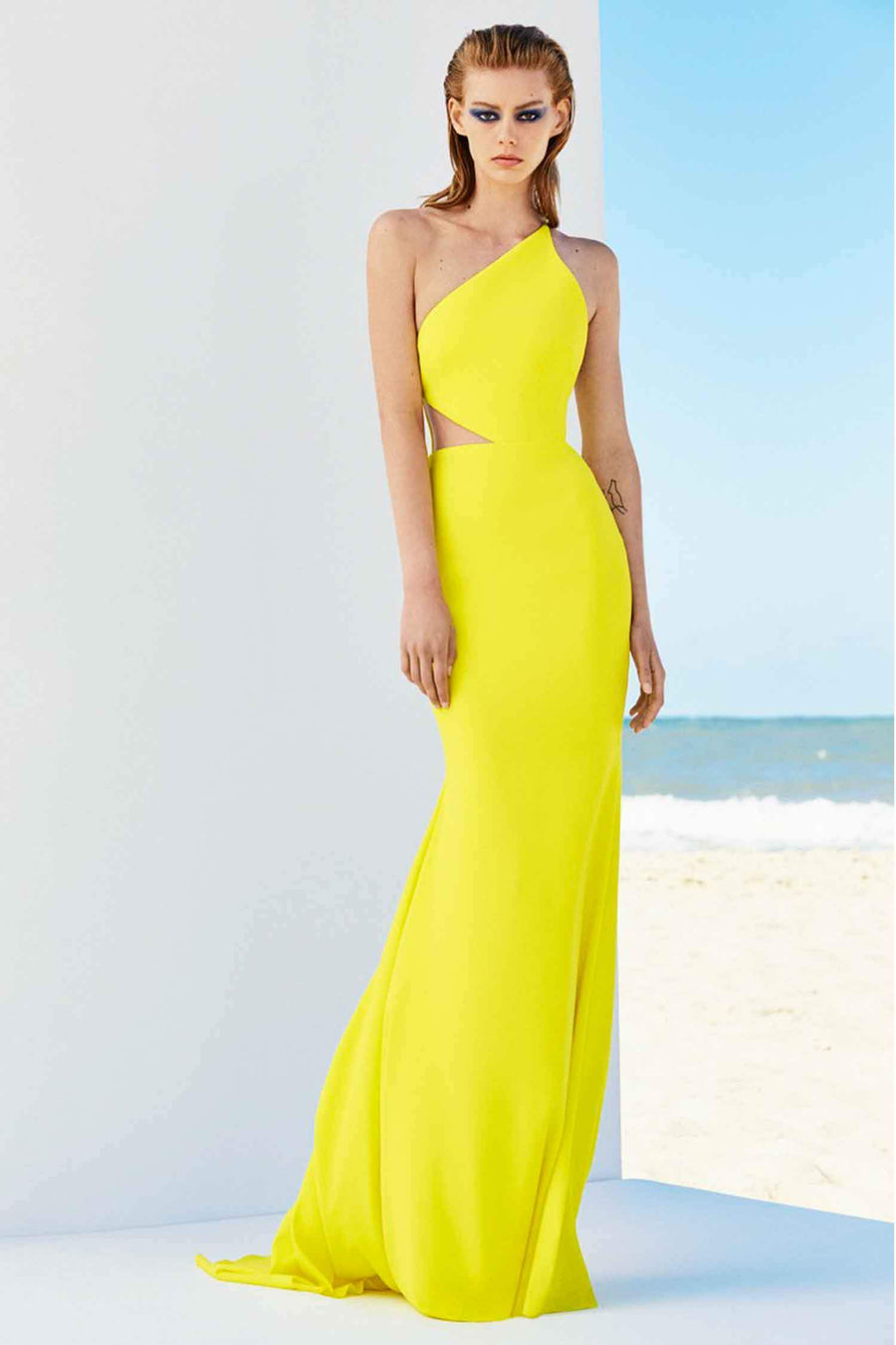 Serena Satin Crepe One Shoulder Gown