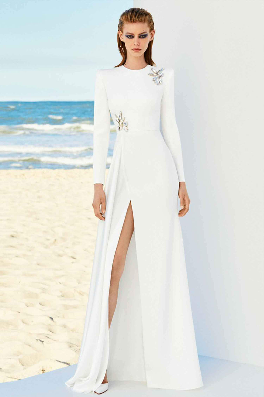 Lily Satin Crepe Longsleeve Drape Crystal Gown by Alex Perry ...