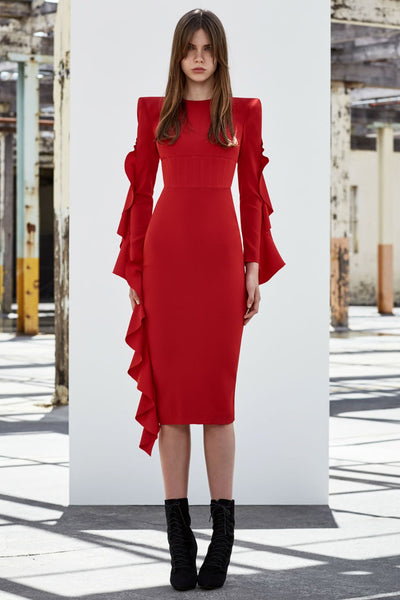Marin Satin Ruffle Lady Dress in Red | FINAL SALE Dresses Alex Perry