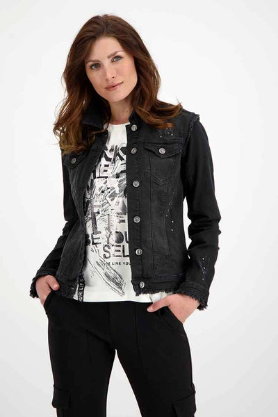 Denim Jacket w Rhinestones in Black Jackets & Outerwear Monari