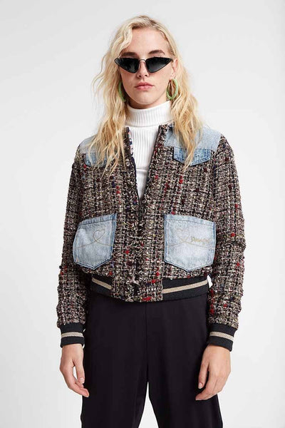 Valais Tweed & Denim Bomber Jacket | FINAL SALE Jackets & Outerwear Desigual