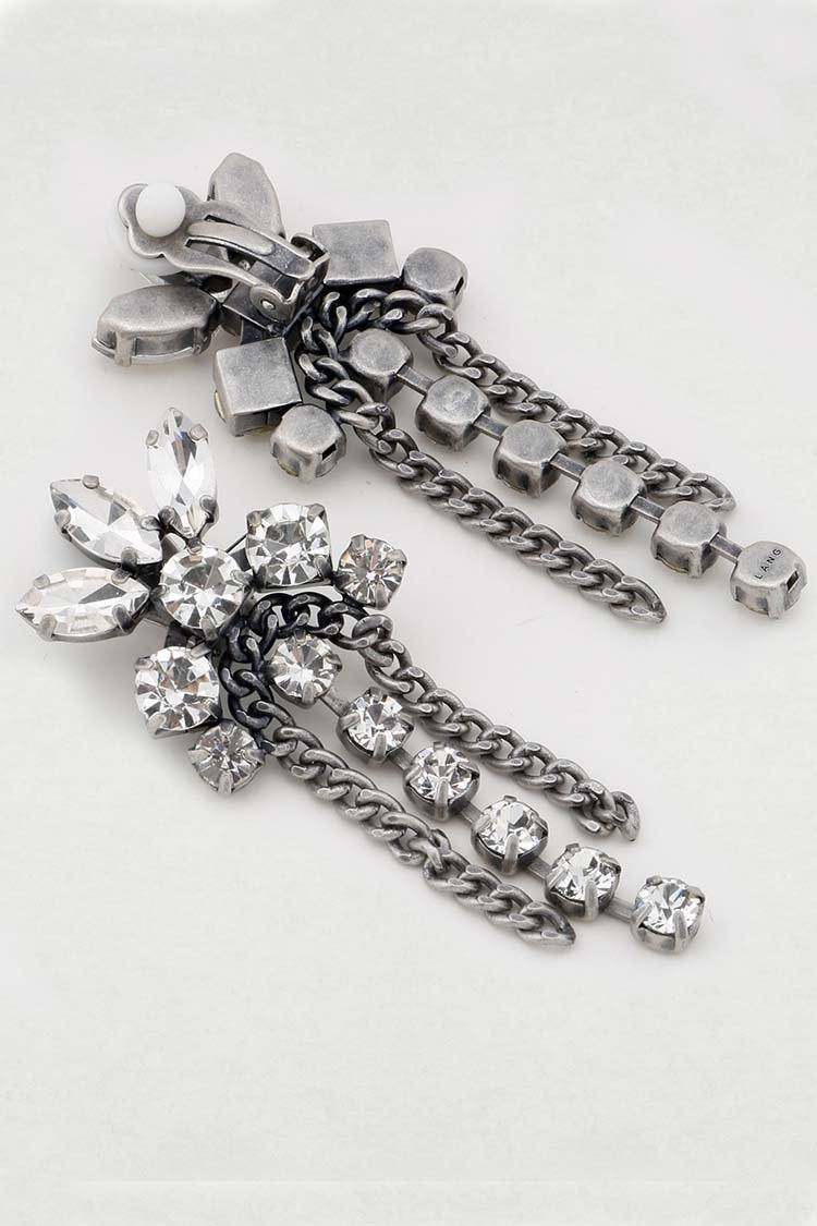 Donatella Crystal Clip On Earring