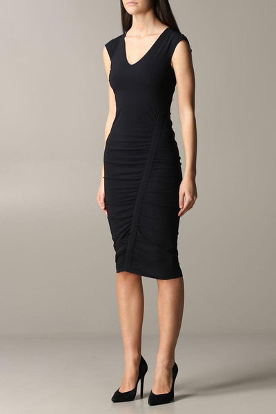 Draped Sheath Midi Dress in Nero Dresses Patrizia Pepe
