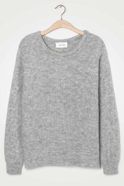 East Round Neck Jumper in Heather Grey Tops American Vintage